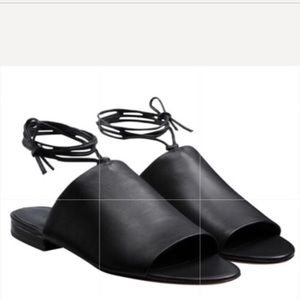 Vince. Damon Black Leather Sandals Leather Ties 7